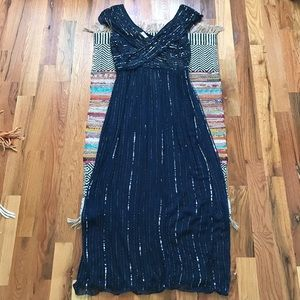 Blue Beaded Evening Gown ✨
